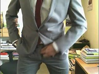 He shows us his new suits and he like to jerk off