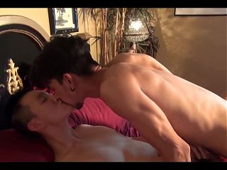 Asian twink rides straight guy dick and cums after blowjob